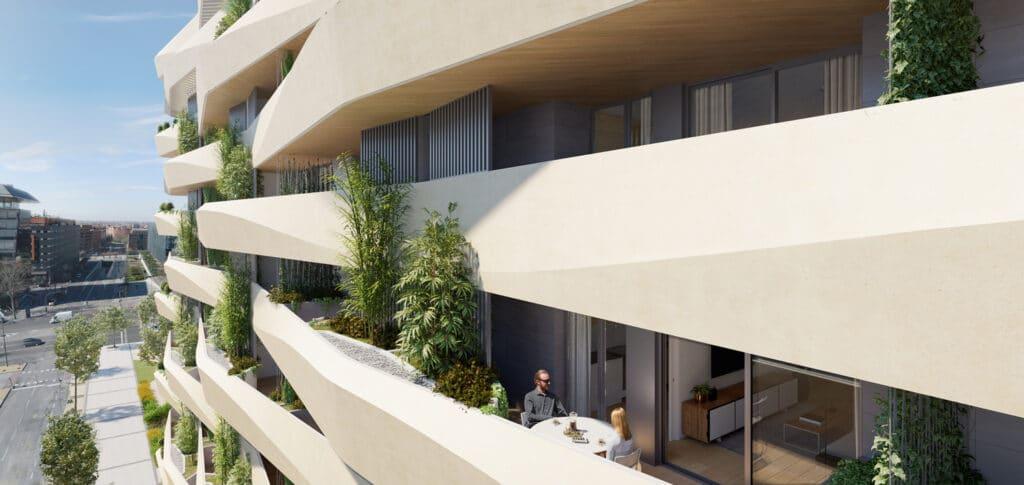 Imagen de las terrazas de las viviendas del Residencial Acciona Méndez Álvaro